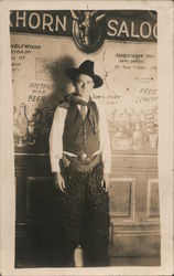 Studio Photo Cowboy with Wooly Chaps Saloon Postcard