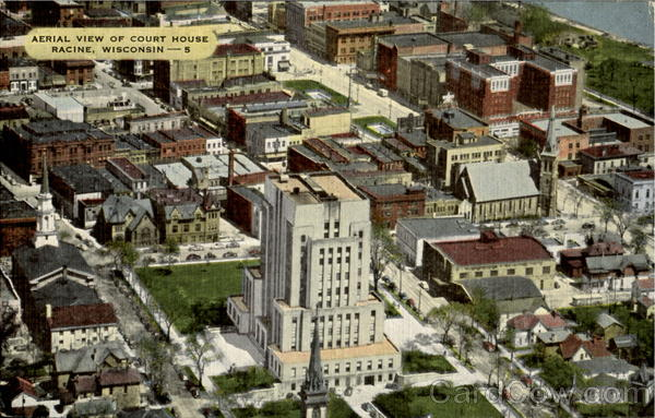 Aerial View Of Court House Racine Wisconsin