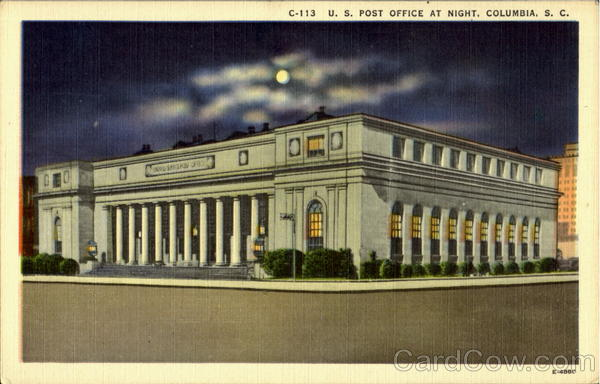 U. S. Post Office At Night Columbia South Carolina