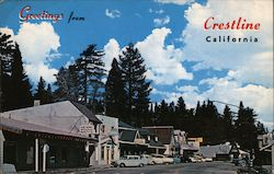 Greetings From Crestline California Postcard
