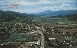 St. Helena, California Located in a Valley of Famous Vineyards. Mt. St. Helena Shows In the Distance Postcard