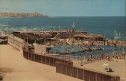 Swimming Pool on the Sea Shore Postcard