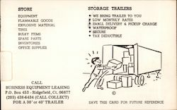 Business Equipment Leasing - Storage Trailers Postcard