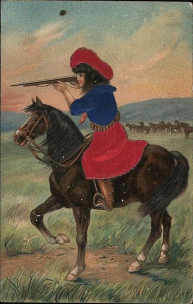 Girl in a horse with a gun Cowboy Western