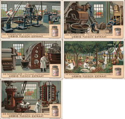 Lot of 5 Trade Cards: Liebig's Extract of Meat Trade Card