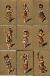 Set of 9 Trade Cards: Little Women in Patriotic Dresses Trade Card
