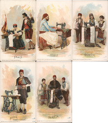Lot of 5: Singer Sewing Machine Trade Cards Trade Card