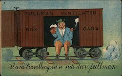 Man drinking beer in Pullman train car Postcard