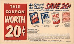 This coupon worth 20c - Be smart, Be Thrifty - SAVE 20c Postcard