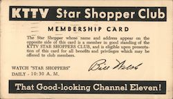 KTTV Star Shopper Club Membership Card Postcard