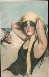 Art Deco Woman in Bathing suit Postcard