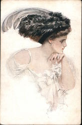 """Food for Thought"" - Woman in flowing white dress with feather hat contemplating, illustration Postcard"