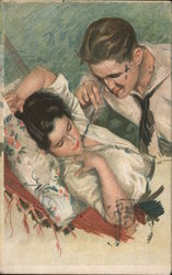 Man Teasing Woman With Feather Postcard