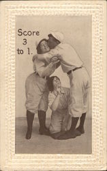 Score 3 to 1. Man hugging woman standing with woman kneeling, sport uniforms Postcard