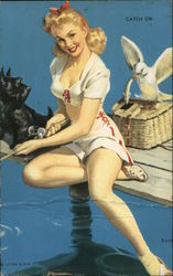 "Beautiful Girl fishing with Scottish Terrier, ""Catch on"" Arcade Card"