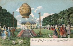 Ascent of the First Hot Air (Montgolfier) Balloon Postcard