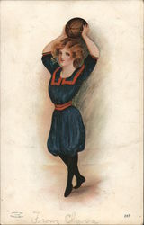 Woman with a Ball of Basketball Postcard