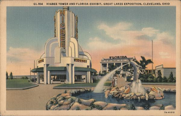 Higbee Tower and Florida Exhibit, Great Lakes Exposition 1936 Cleveland Ohio