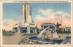 Higbee Tower and Florida Exhibit, Great Lakes Exposition Postcard