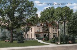 Entrance to Grounds of State Training School For Girls Postcard