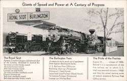 Giants of Speed and Power at A Century of Progress Burlington Route Postcard