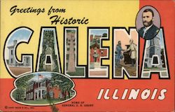 Greetings from Historic Galena Illinois, Home of General U.S. Grant Postcard