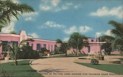 Section of the Pink Lodge Showing Ever Changing Color Fountain Postcard