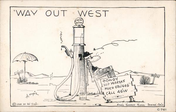Way Out West - Cartoon of Bearded Man Sleeping by Gas Pump