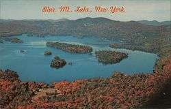 Aerial View Blue Mt. Lake Postcard