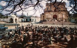 Market Day in Palín, Church Postcard