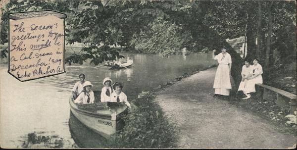 Hershey Park, People in Rowboats Advertising