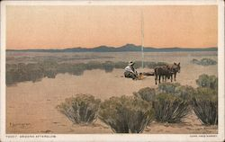 Cowboy and Burros in Desert with campfire, Arizona Afterglow, Painting by Fernand Lungren Postcard