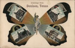 Greetings From Denison, Texas Butterfly Postcard