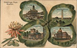Greetings from Boston, Four Leaf Clover with Fanueil Hall, Bunker Hill Monument, Kings Chapel, State House Postcard