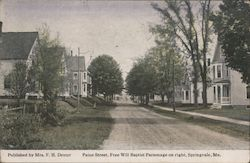 Paine Street, Free Will Baptist Parsonage on right Postcard