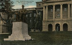 Lincoln Monument and Main Hall, University of Wisconsin Postcard