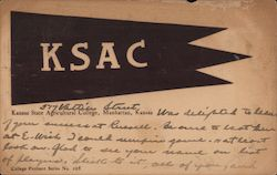 KSAC College Flag, Kansas State Agricultural College (K-State) Postcard