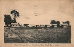 Mayo's Camps, Corner Cascade and Saco Road Postcard