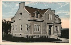 Public Library and Town Hall, White Mts. Postcard