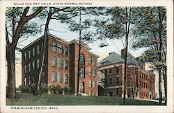 Wells and May Halls State Normal School Framingham Center, Mass. Postcard