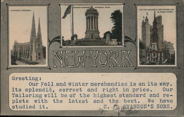 New York Landmarks C. J. Eyanson's Sons New York City