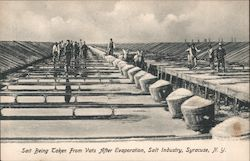 Salt Being Taken from Vats After Evaporation, Salt Industry Postcard