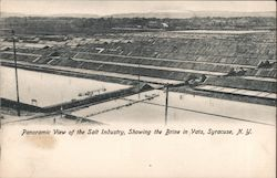 Panoramic View of the Salt Industry, Showing the Brine in the Vats Postcard
