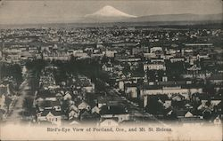 Bird's Eye View of Portland and Mt. St. Helens Postcard
