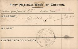 First National Bank of Creston Postcard