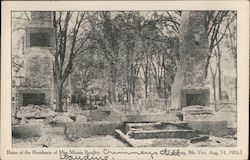 Ruins of the Residence of Miss Minnie Bradley Postcard