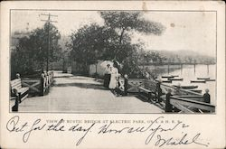 View of Rustic Bridge at Electric Park on A. & H. R.R. Postcard