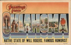 Greetings from Oklahoma, Native State of Will Rogers, Famous Humorist Postcard