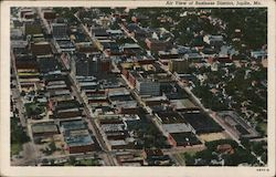 Air View of Business District Postcard