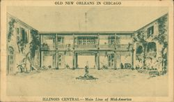 Old New Orleans in Chicago, Illinois Central Exhibit at Chicago Railroad Fair Postcard